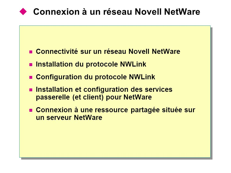 Connexion à un réseau Novell NetWare