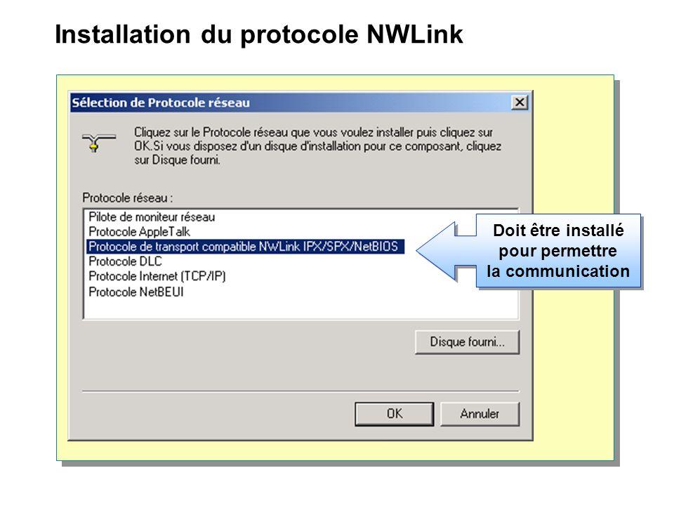 Installation du protocole NWLink