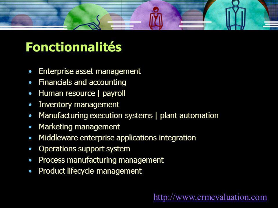 Fonctionnalités http://www.crmevaluation.com