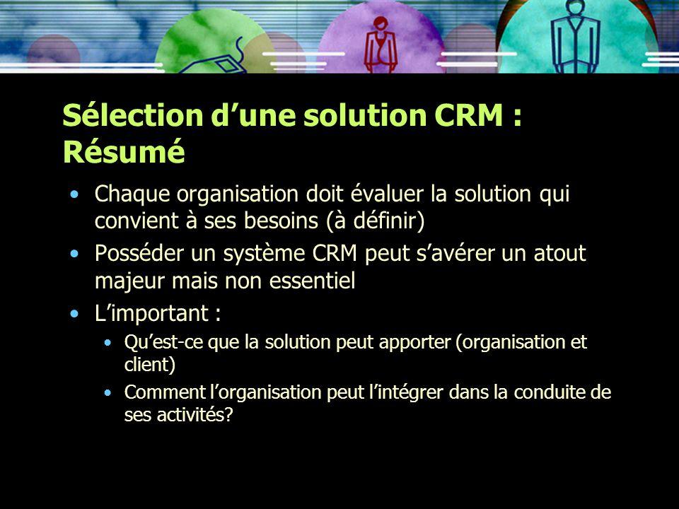 Sélection d'une solution CRM : Résumé
