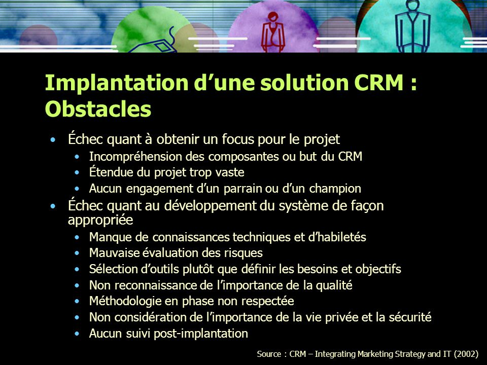 Implantation d'une solution CRM : Obstacles