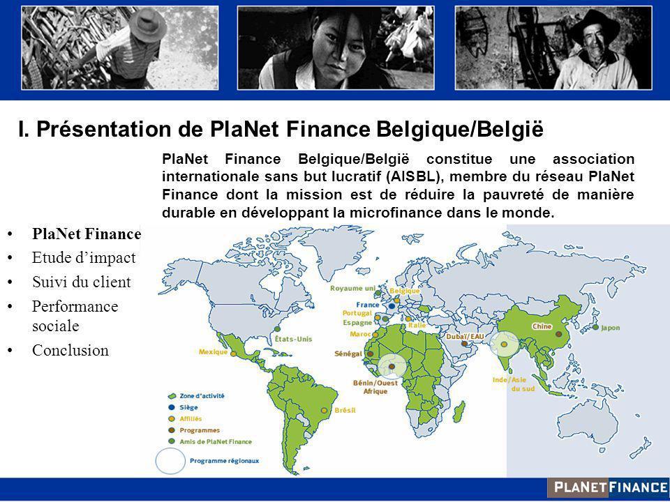 I. Présentation de PlaNet Finance Belgique/België
