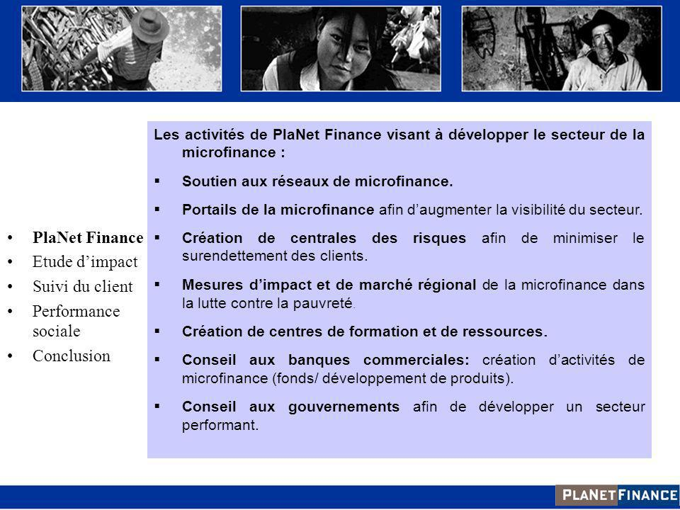 Introduction PlaNet Finance Etude d'impact Suivi du client
