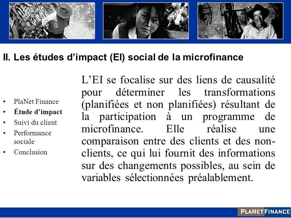 II. Les études d'impact (EI) social de la microfinance