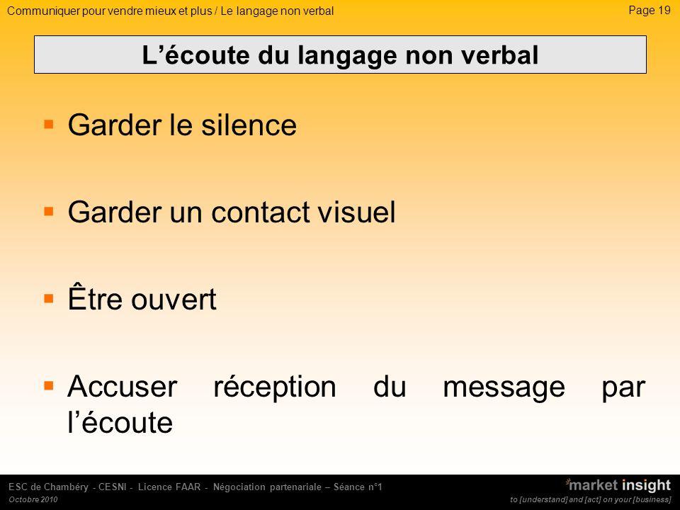 L'écoute du langage non verbal