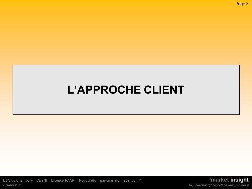 L'APPROCHE CLIENT