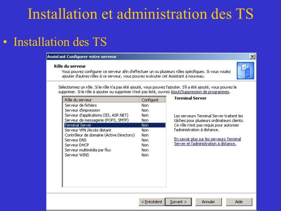 Installation et administration des TS