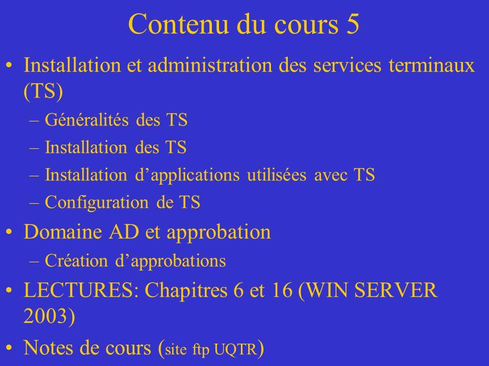Contenu du cours 5 Installation et administration des services terminaux (TS) Généralités des TS. Installation des TS.