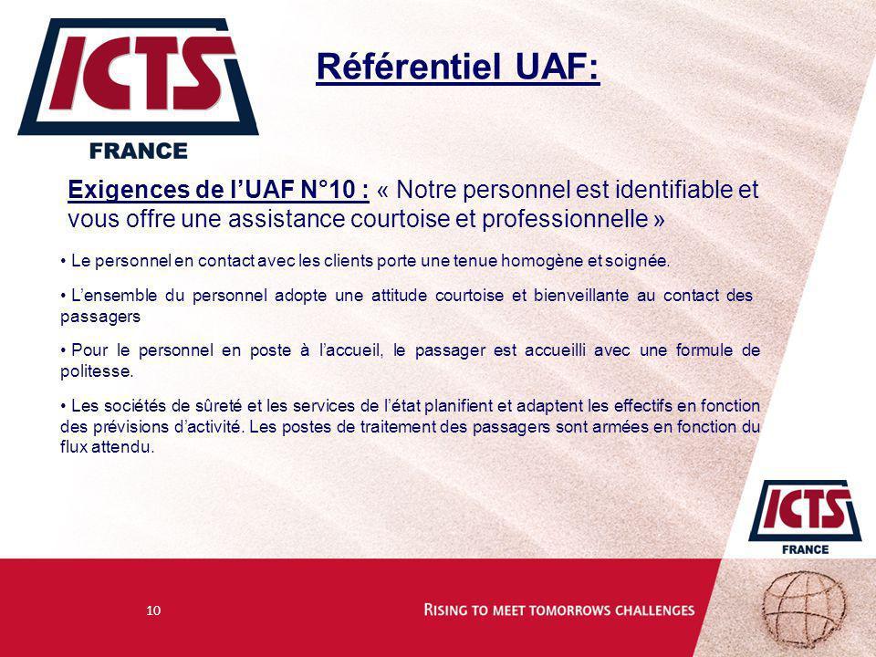 Référentiel UAF: Exigences de l'UAF N°10 : « Notre personnel est identifiable et vous offre une assistance courtoise et professionnelle »