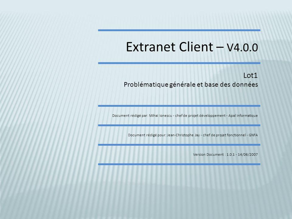 Extranet Client – V4.0.0 Lot1. Problématique générale et base des données.