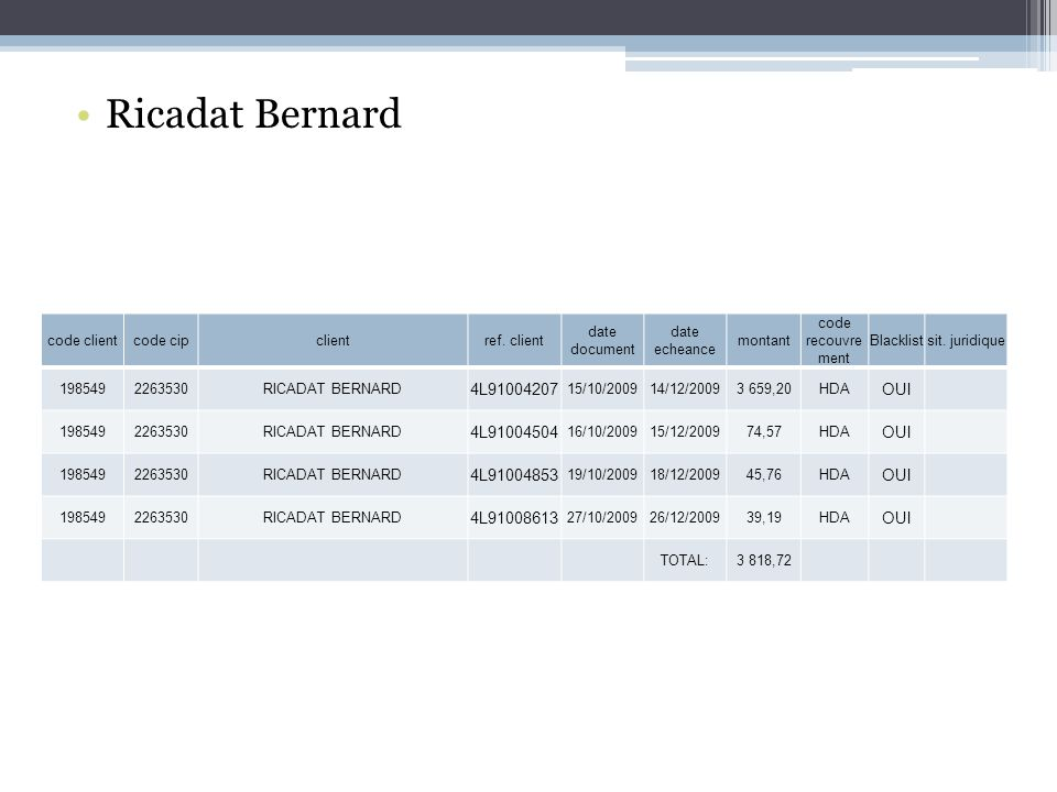 Ricadat Bernard 4L91004207 OUI 4L91004504 4L91004853 4L91008613
