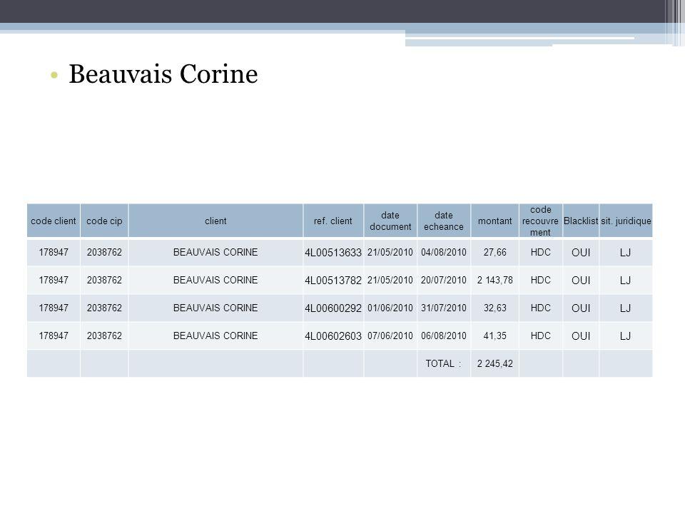 Beauvais Corine 4L00513633 OUI LJ 4L00513782 4L00600292 4L00602603