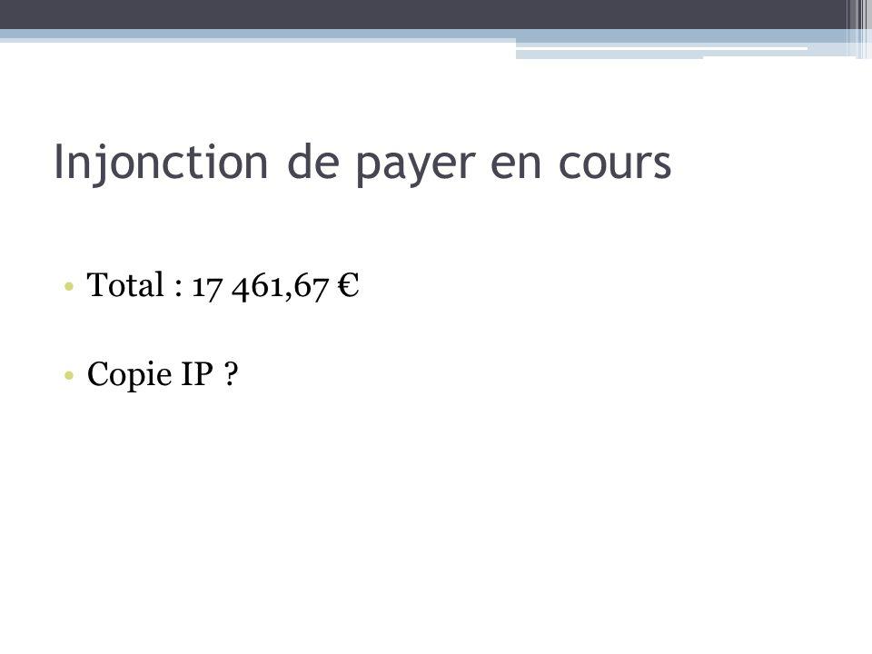 Injonction de payer en cours