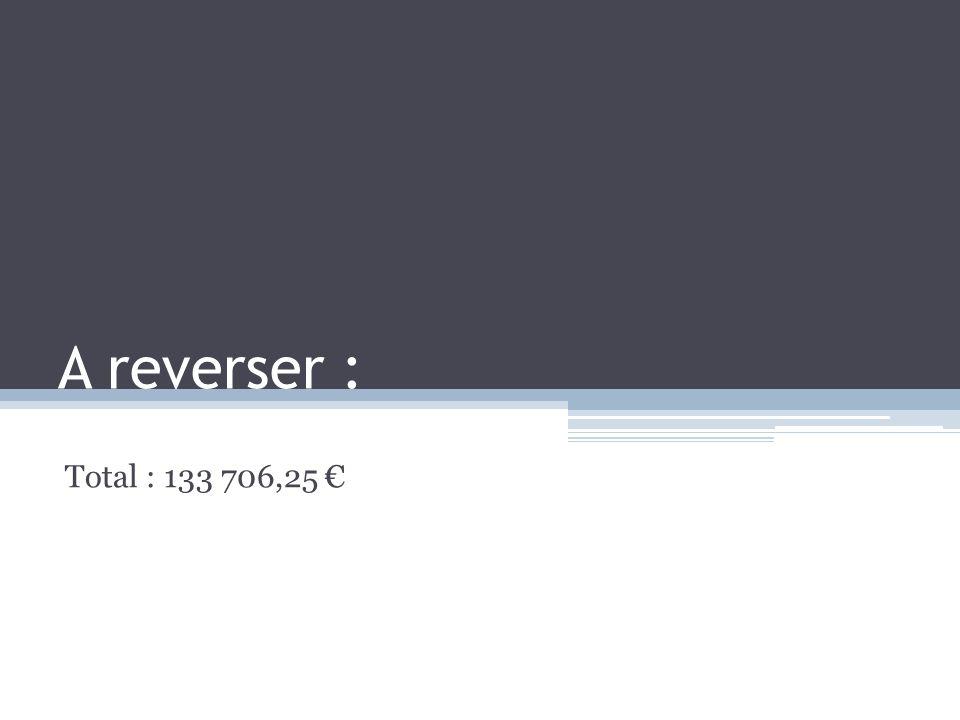 A reverser : Total : 133 706,25 €