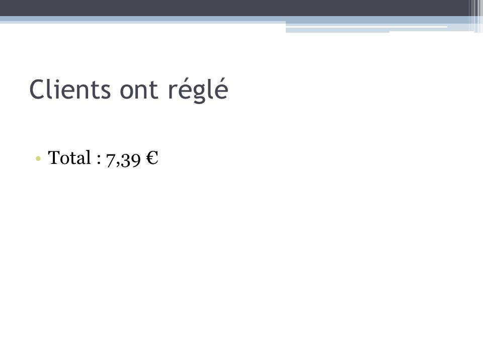 Clients ont réglé Total : 7,39 €