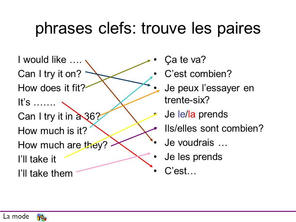 phrases clefs: trouve les paires