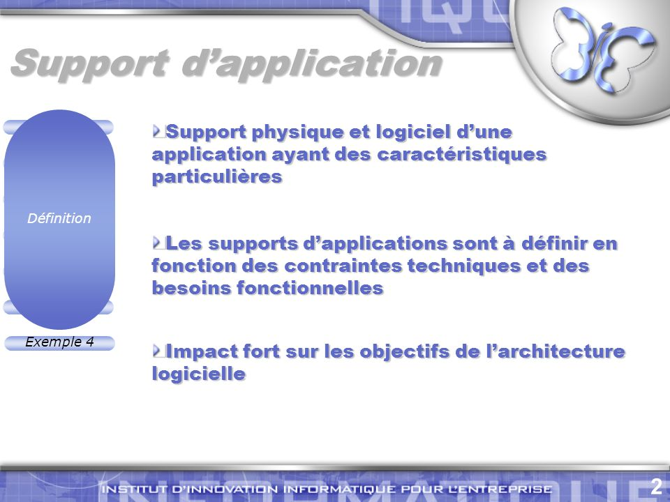 Support d'application