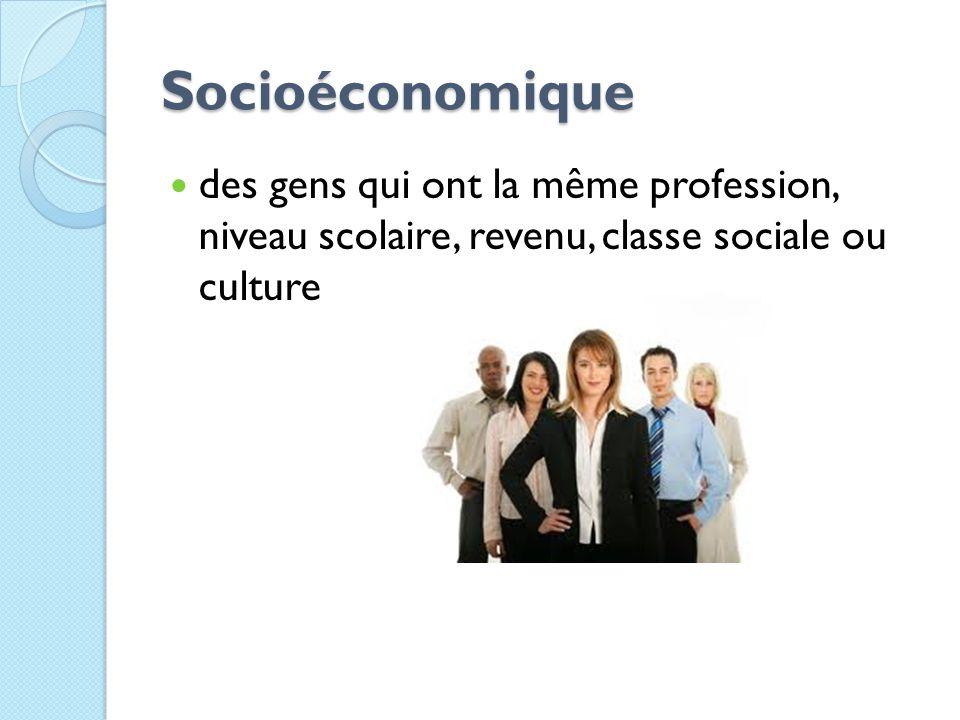 Socioéconomique des gens qui ont la même profession, niveau scolaire, revenu, classe sociale ou culture.