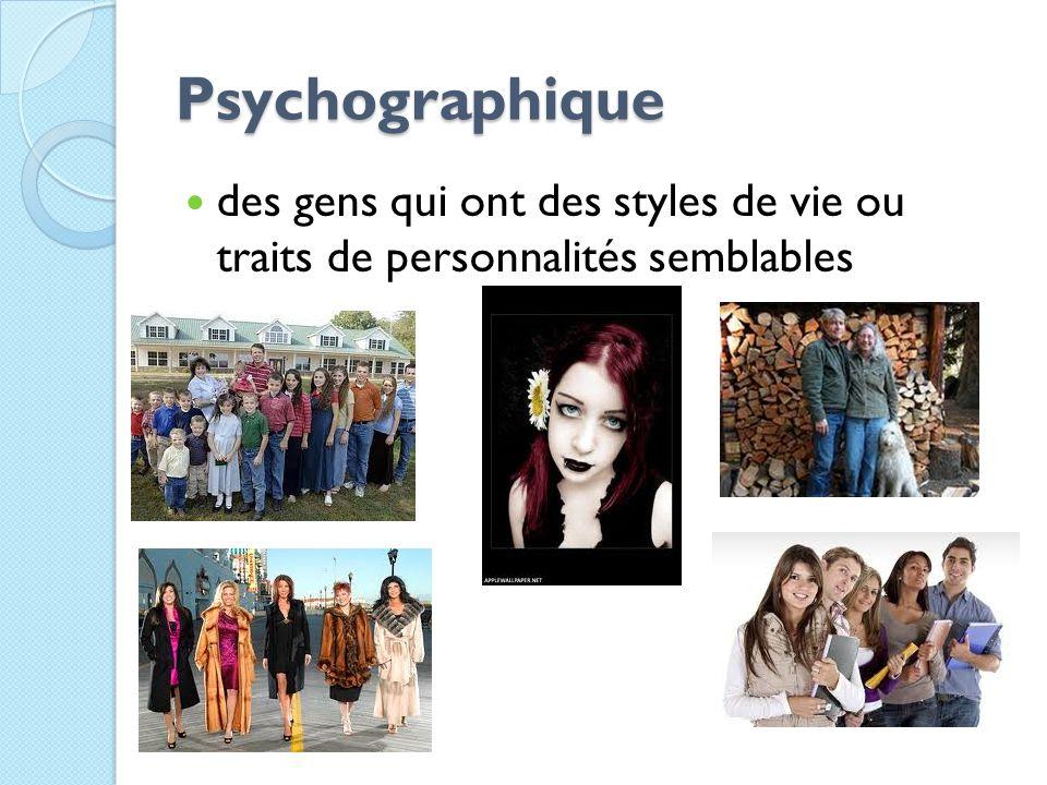 Psychographique des gens qui ont des styles de vie ou traits de personnalités semblables