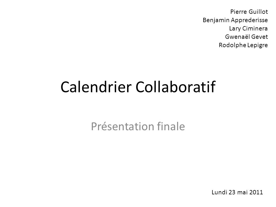 Calendrier Collaboratif