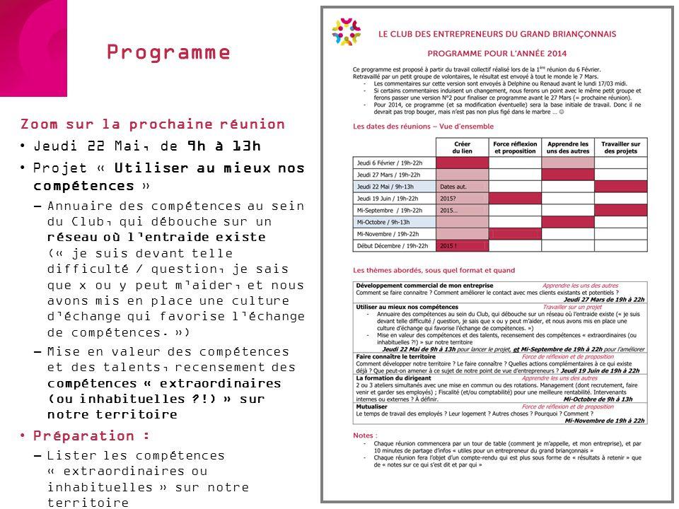 Programme Zoom sur la prochaine réunion Jeudi 22 Mai, de 9h à 13h
