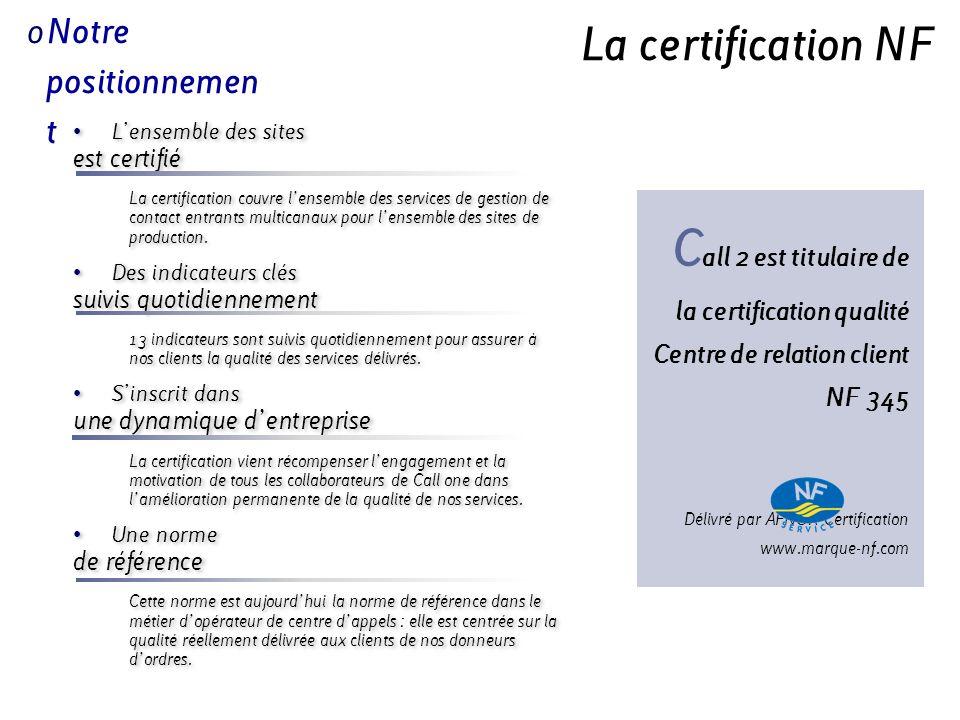 Call 2 est titulaire de la certification qualité