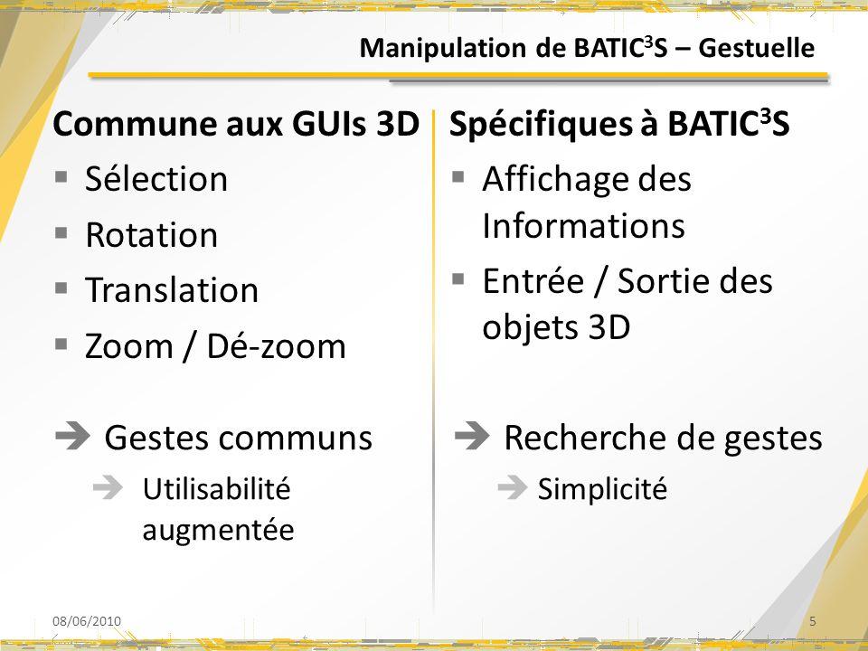 Manipulation de BATIC3S – Gestuelle