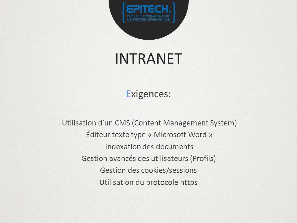 INTRANET Exigences: Utilisation d'un CMS (Content Management System)