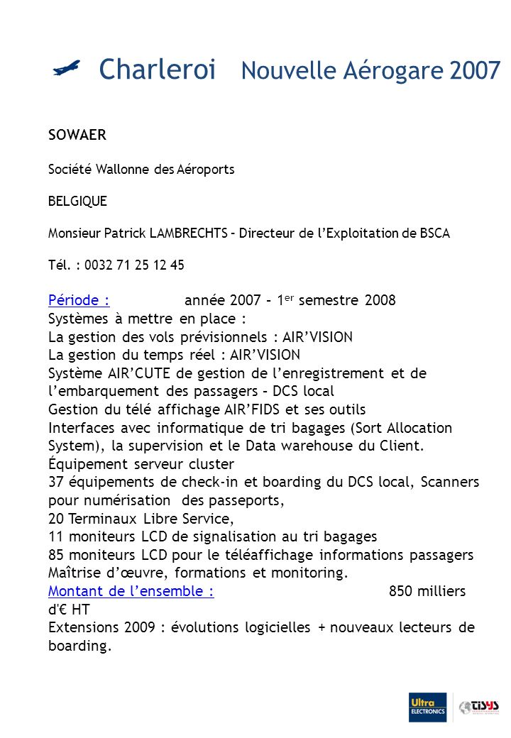 Charleroi Nouvelle Aérogare 2007