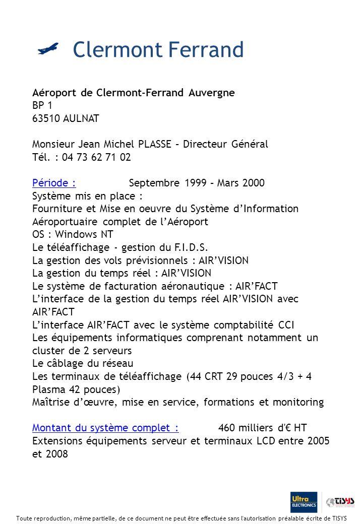 Clermont Ferrand Aéroport de Clermont-Ferrand Auvergne BP 1