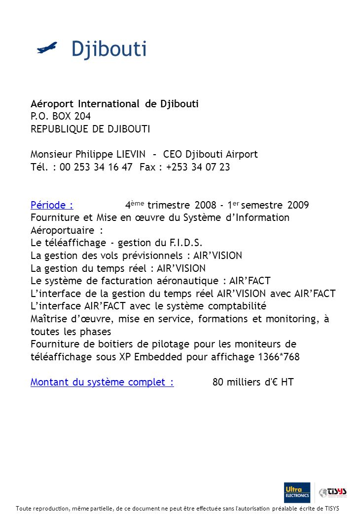Djibouti Aéroport International de Djibouti P.O. BOX 204