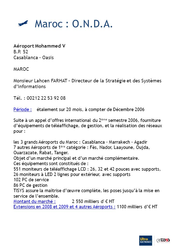 Maroc : O.N.D.A. Aéroport Mohammed V B.P. 52 Casablanca - Oasis MAROC