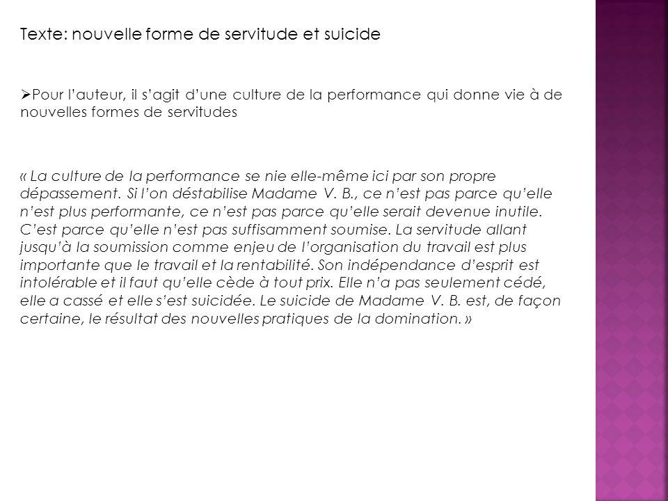 Texte: nouvelle forme de servitude et suicide