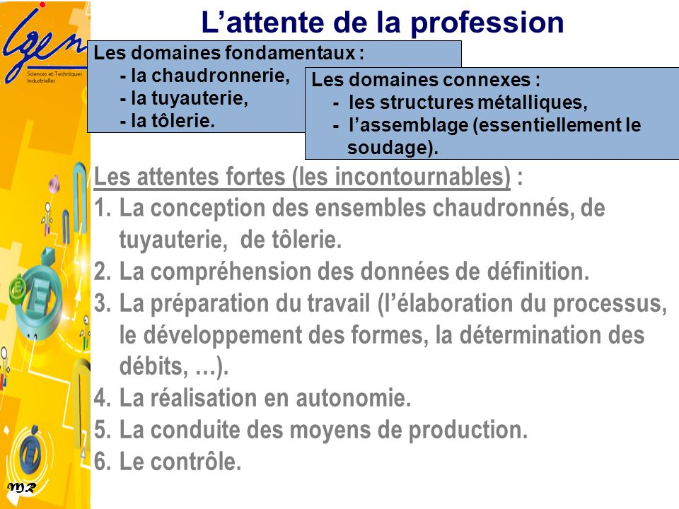 L'attente de la profession