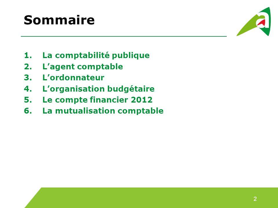 Sommaire La comptabilité publique L'agent comptable L'ordonnateur