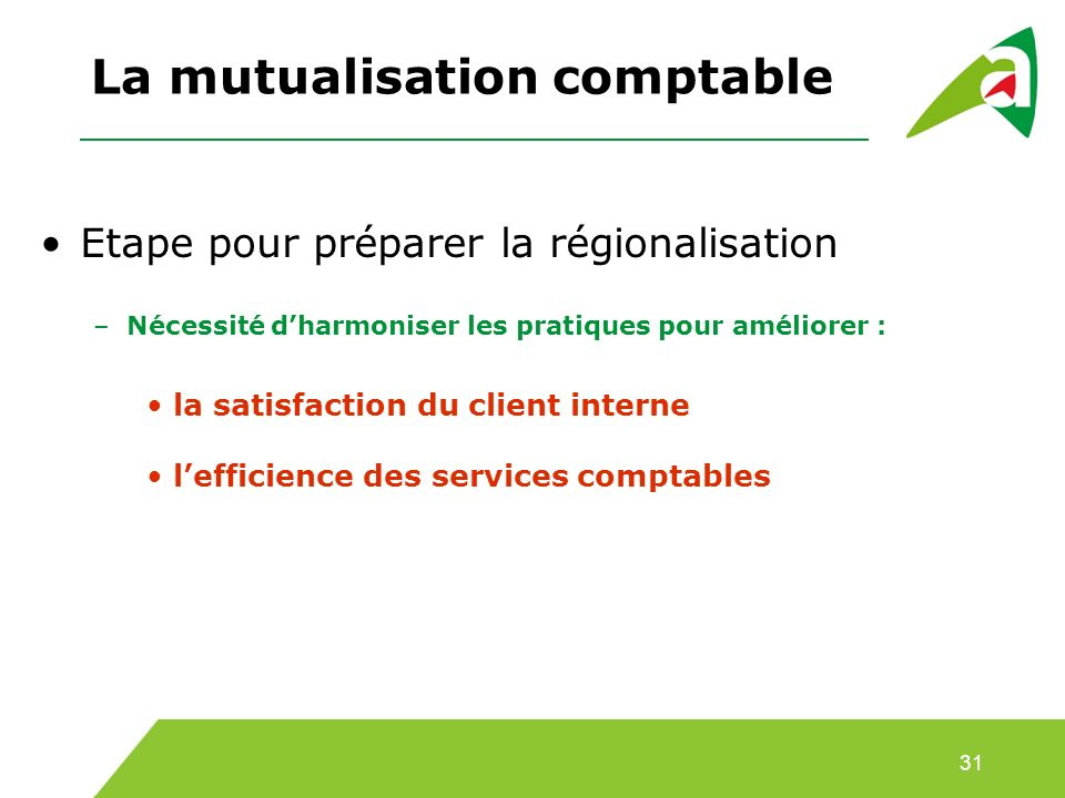 La mutualisation comptable