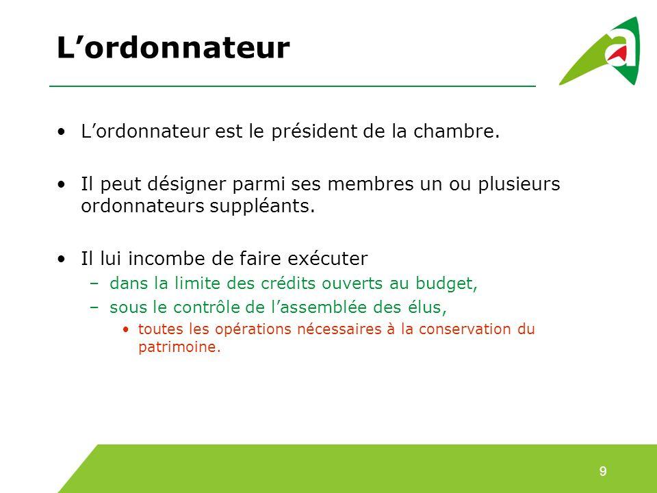 L'ordonnateur L'ordonnateur est le président de la chambre.