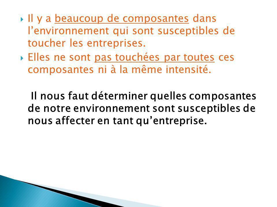 Il y a beaucoup de composantes dans l'environnement qui sont susceptibles de toucher les entreprises.