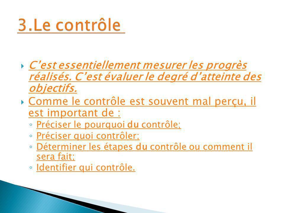 3.Le contrôle C'est essentiellement mesurer les progrès réalisés. C'est évaluer le degré d'atteinte des objectifs.