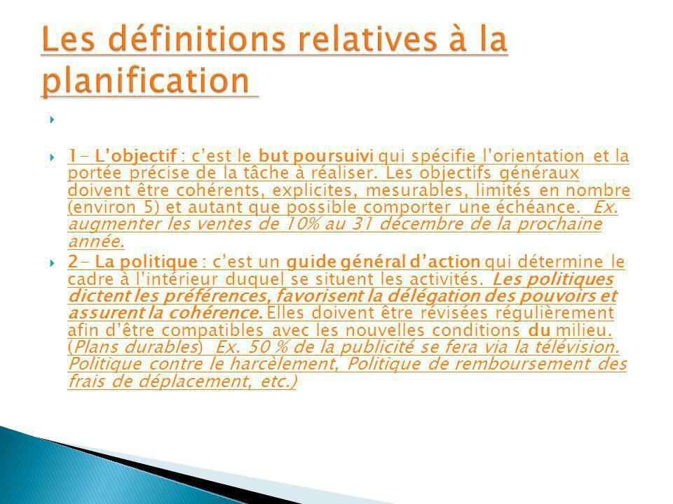 Les définitions relatives à la planification