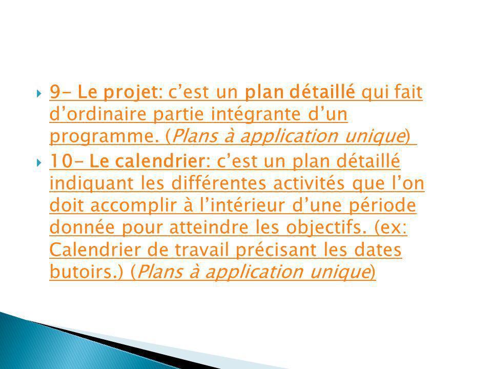 9- Le projet: c'est un plan détaillé qui fait d'ordinaire partie intégrante d'un programme. (Plans à application unique)
