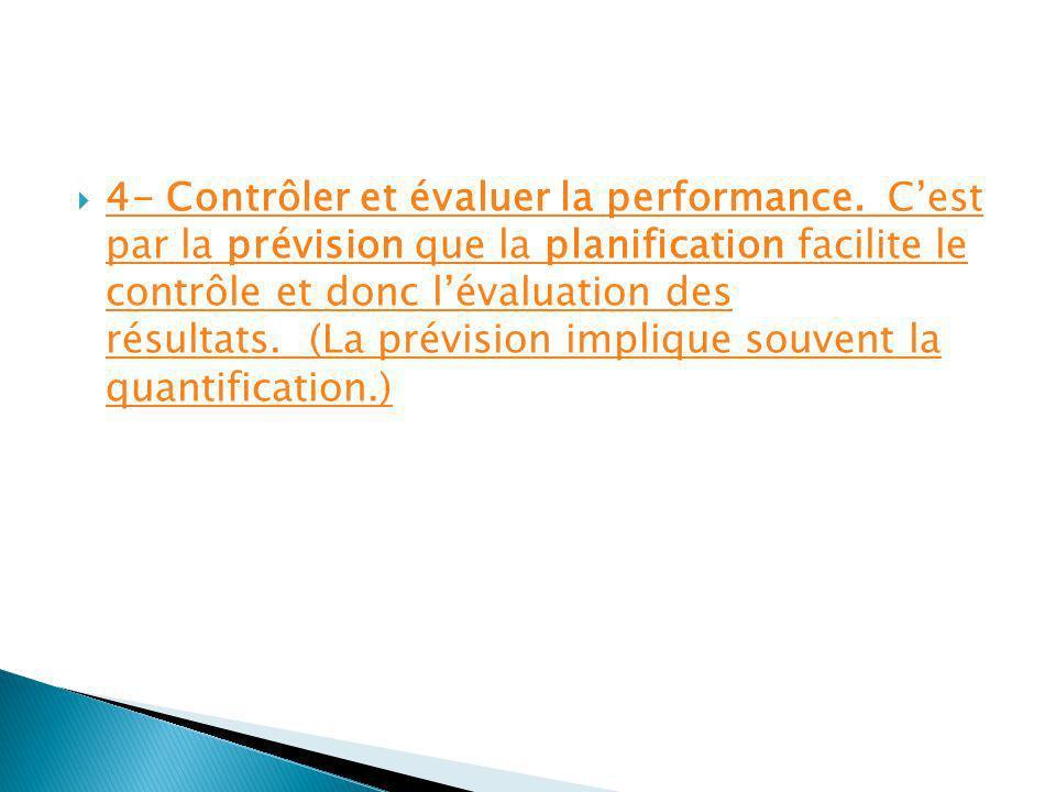 4- Contrôler et évaluer la performance