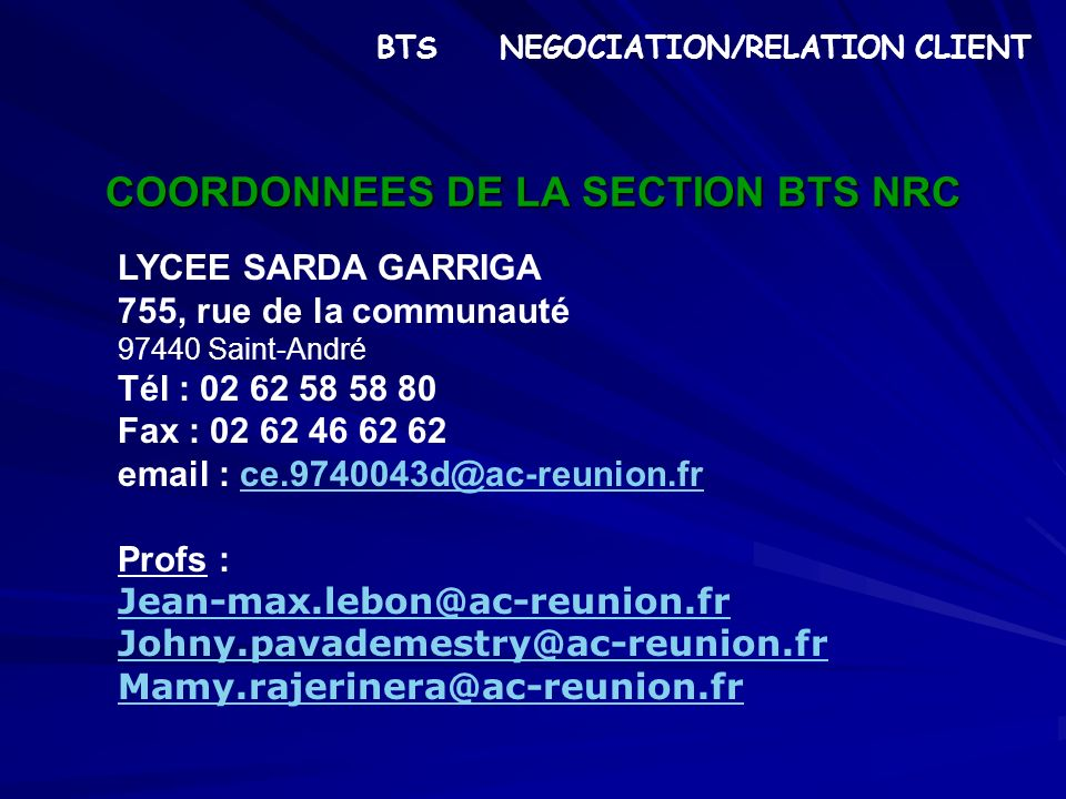 COORDONNEES DE LA SECTION BTS NRC