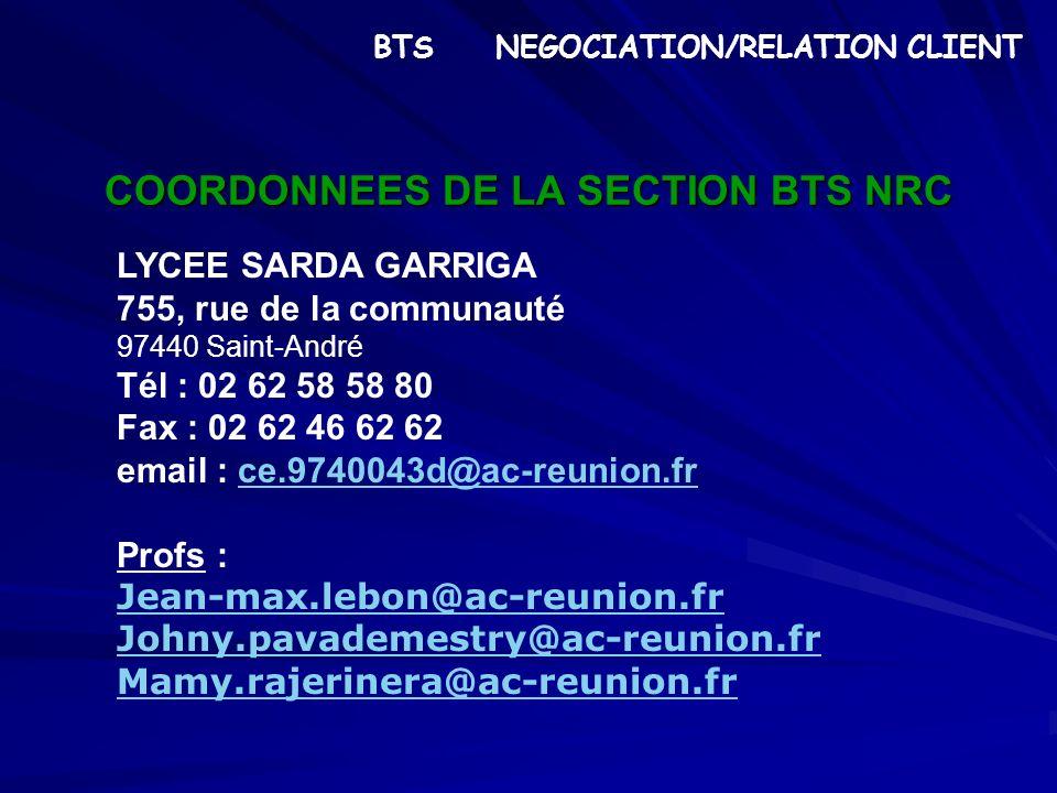 COORDONNEES DE LA SECTION BTS NRC