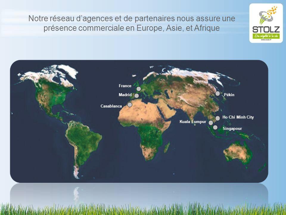 Notre réseau d'agences et de partenaires nous assure une présence commerciale en Europe, Asie, et Afrique