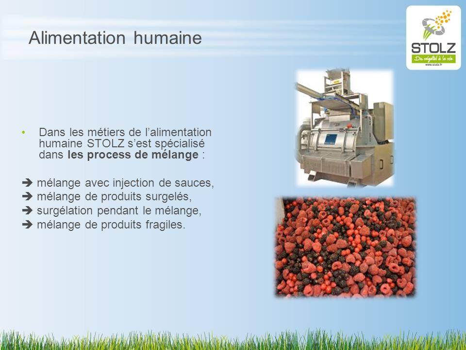 Alimentation humaine Dans les métiers de l'alimentation humaine STOLZ s'est spécialisé dans les process de mélange :