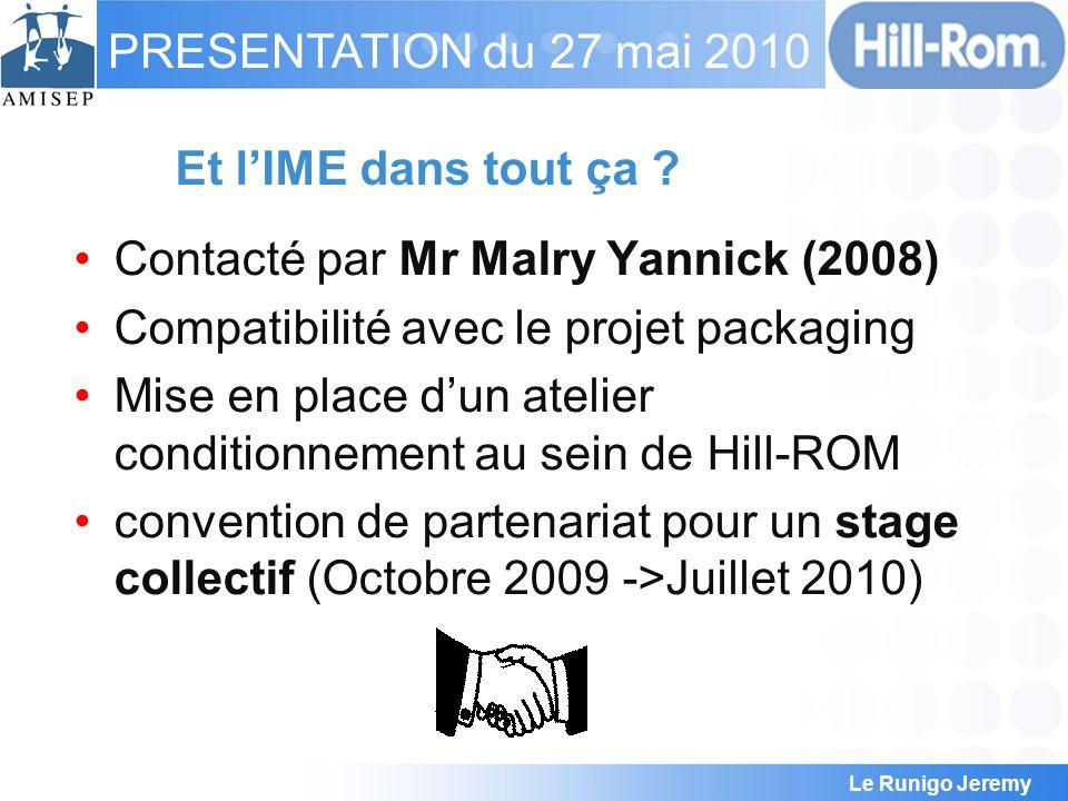 Et l'IME dans tout ça Contacté par Mr Malry Yannick (2008) Compatibilité avec le projet packaging.