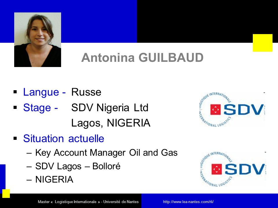 Antonina GUILBAUD Langue - Russe Stage - SDV Nigeria Ltd