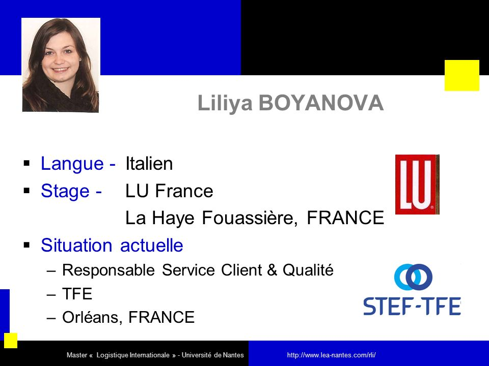 Liliya BOYANOVA Langue - Italien Stage - LU France