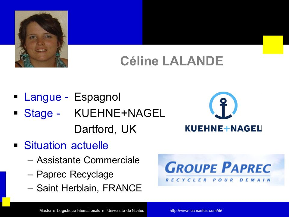 Céline LALANDE Langue - Espagnol Stage - KUEHNE+NAGEL Dartford, UK